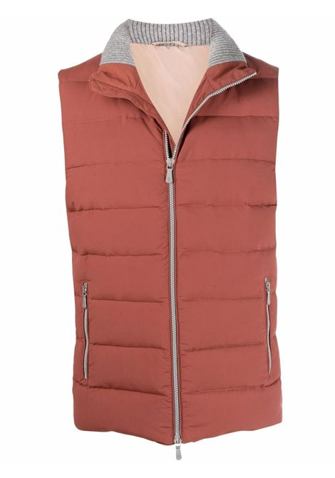 Gilet imbottito con zip in marrone - uomo ELEVENTY | D75GILD05GBT2700709