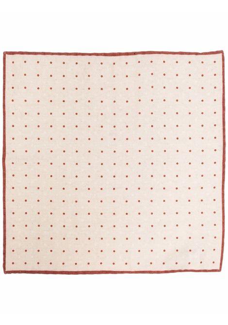 Beige and wine-red printed pocket square - man  ELEVENTY | D77POCA01TES0D0180209