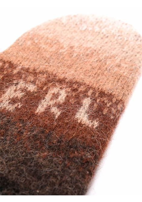 Logo-knit striped mittens in brown - men  ERL   ERL03K0061