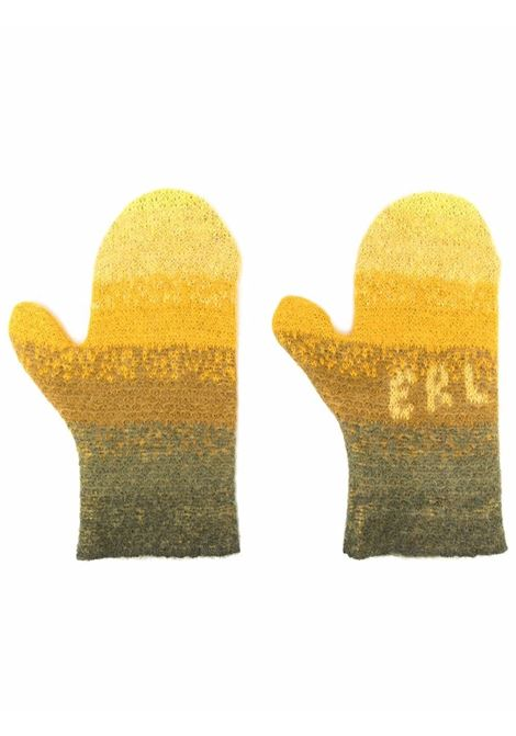 Logo-knit striped mittens in dark yellow and multicolour  - men  ERL   ERL03K0071