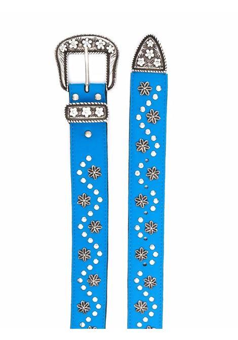 Star-embossed belt in azure-blue - men ERL   ERL03K0201