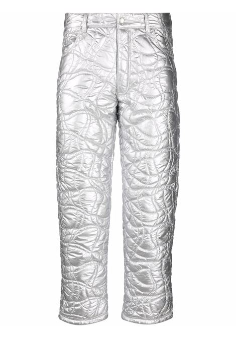Quilted straight-leg trousers in silver - men ERL   ERL03P0121