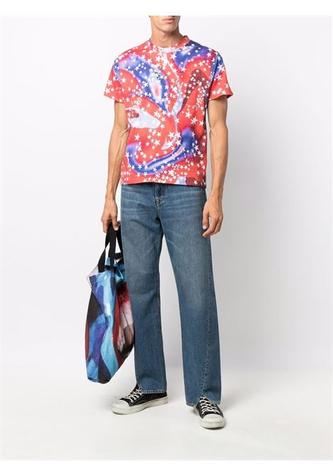 Abstract pattern-print T-shirt in cherry red, navy blue and off white - men  ERL   ERL03T0301