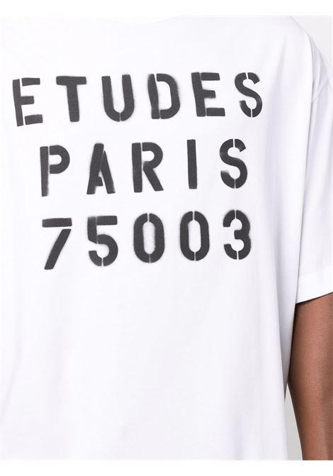 Logo-print short-sleeved T-shirt in bright-white and black - men ÉTUDES | E19E40202