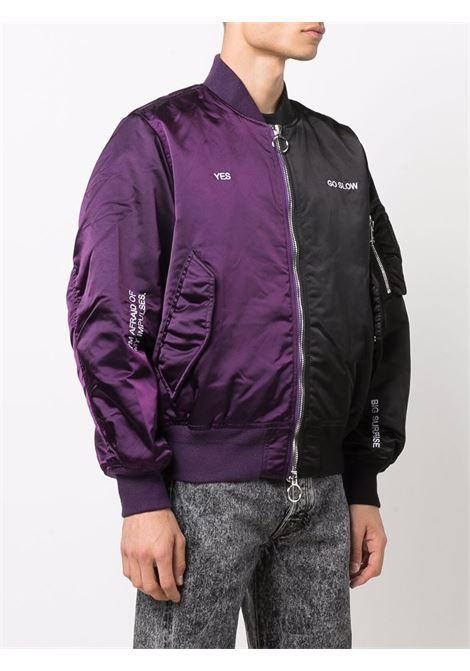 Horizon bi-colour bomber jacket in black and purple - men  ÉTUDES | E19M03148