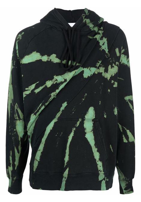 Tie dye layered look sweatshirt in black - men  ÉTUDES | E19M10569
