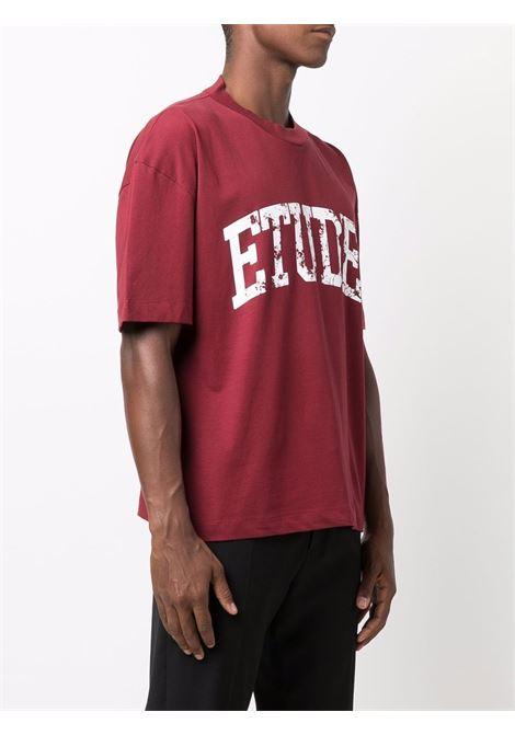 Logo-print short-sleeved T-shirt in crimson-red and white - men  ÉTUDES | E19M41133