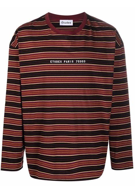 Horizontal stripe long-sleeve T-shirt in burgundy and multicolour - men  ÉTUDES | E19M42267