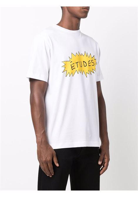 Logo-print short-sleeved T-shirt in bright-white and deep-yellow - men  ÉTUDES | E19M43102