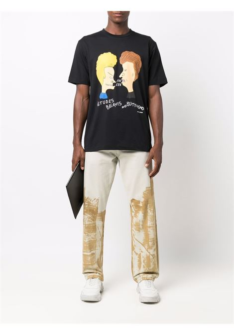 Graphic-print short-sleeved T-shirt in black - men  ÉTUDES | E19M44501