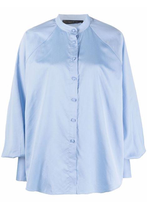 Camicia con maniche a sbuffo in azzurro - donna FEDERICA TOSI | FTI21CA0240PP00380595