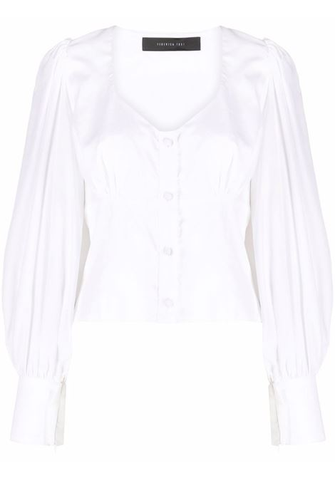 Cropped v-neck blouse in white - women FEDERICA TOSI | FTI21CA0760PP00380001