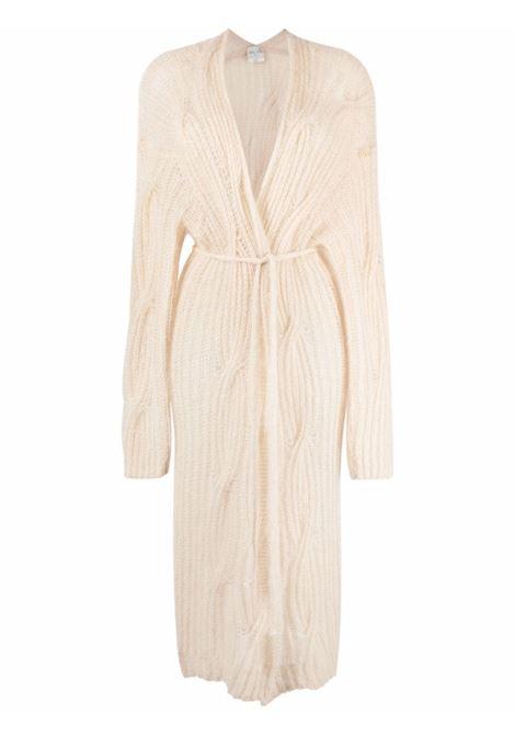 Cardigan lungo con cintura in beige - donna FORTE FORTE | 85300030