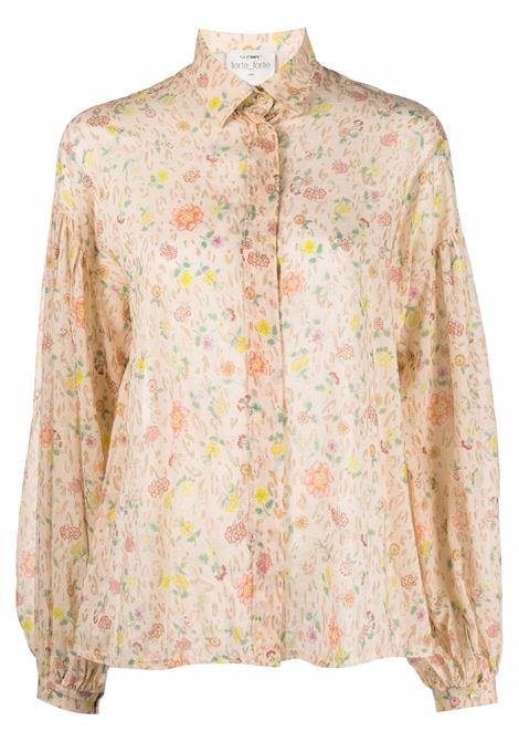 Camicia con maniche a sbuffo e stampa floreale in giallo - donna FORTE FORTE | 86742516