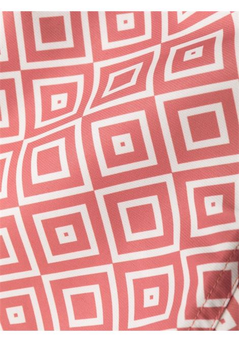 All-over print swim shorts in terracotta-red/off-white - men  FRESCOBOL CARIOCA | 100716