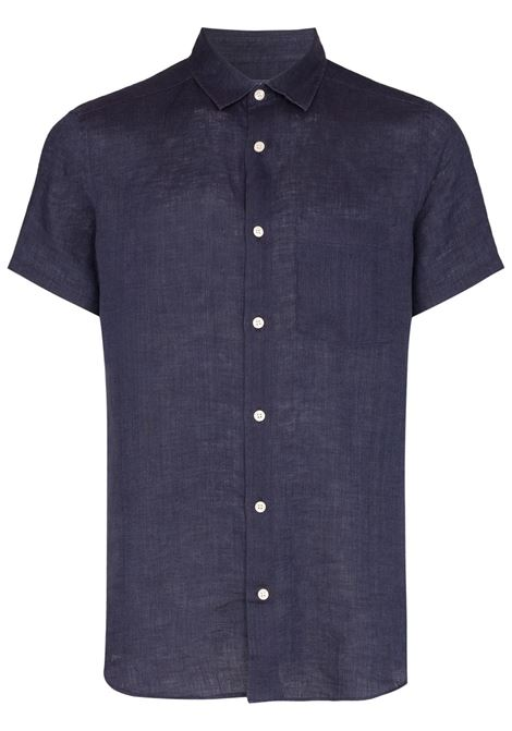 button-down short-sleeve shirt in midnight blue - men  FRESCOBOL CARIOCA | 135118
