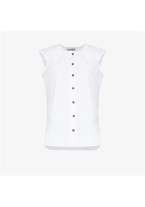 Camicia con collo oversize bianco - donna GANNI | F4715151