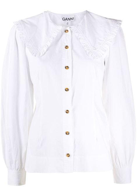 Camicia con collo oversize bianco - donna GANNI | F5500151