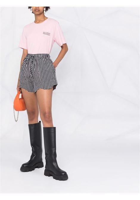 Shorts con stampa a quadri in bianco e nero - donna GANNI | F6007099