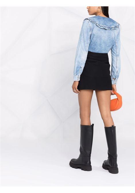 Camicia denim con colletto oversize in blu - donna GANNI | F6018687