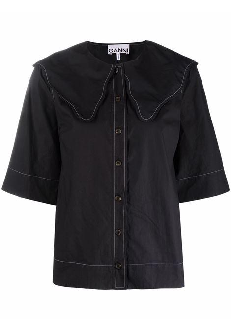 Camicia con colletto smerlato in nero - donna GANNI | F6032099