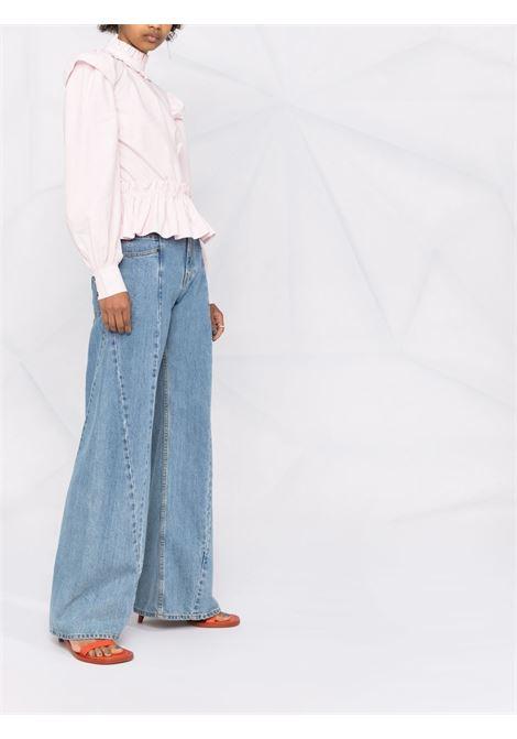 Ruffled poplin cropped blouse in pale lilac - women  GANNI | F6246500