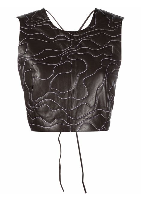 Embroidered lambskin cropped top in brown - women  GANNI   F6295897