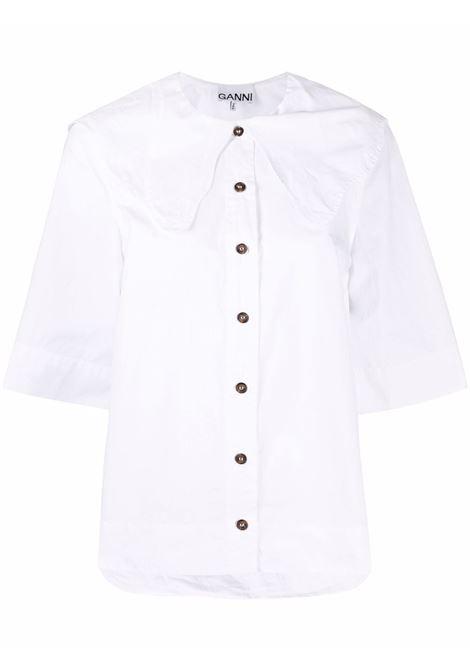 Camicia con colletto over in bianco - donna GANNI | F6339151