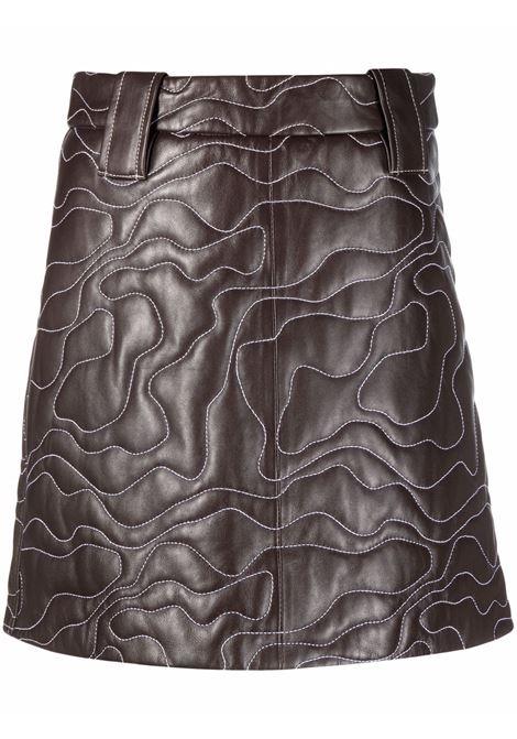 Embroidered mini skirt in brown - women  GANNI | F6389897