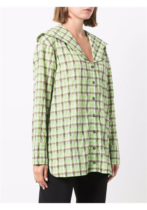 Seersucker check oversized collar shirt in oyster gray green and white and black - women GANNI | F6406873