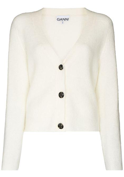 V-neck buttoned cardigan in white - women GANNI | K1454135