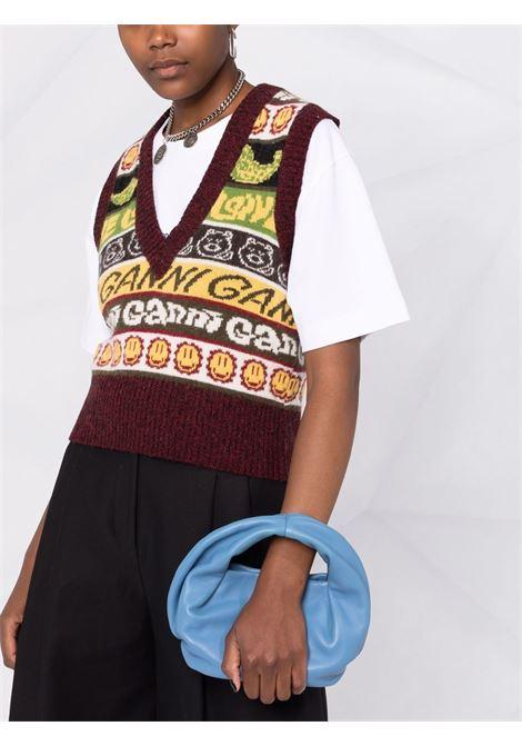 Smiley knitted vest top in multicolour - women GANNI | K1556999