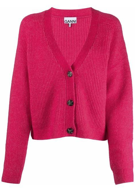 Cardigan con scollo a v in rosa - donna GANNI | K1575483