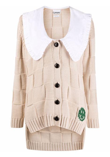 Checkerboard button-up cardigan beige - women  GANNI | K1577196