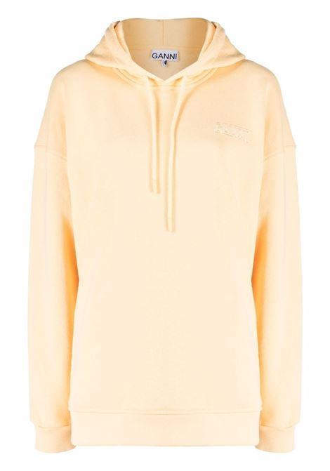 Felpa con coulisse e logo ricamato in giallo - donna GANNI | T2911304