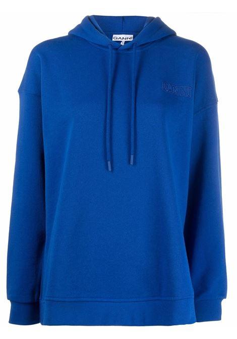 Felpa con cappuccio e logo blu- donna GANNI | T2911572