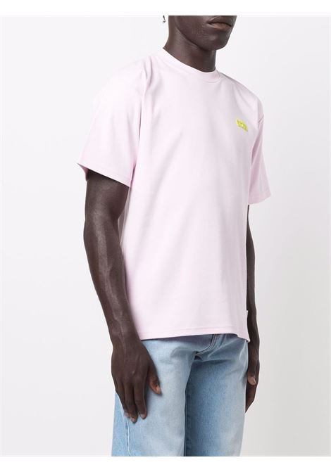 Crew-neck logo t-shirt in lilac - men  GCDS | CC94M02100161
