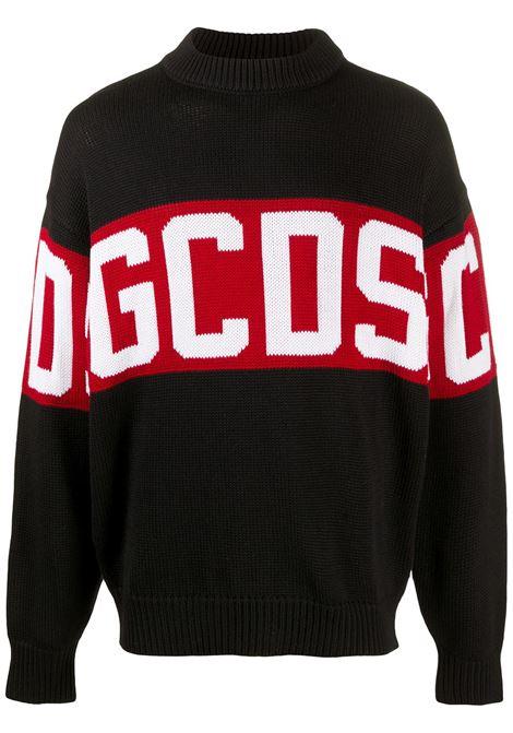 Maglione a girocollo con logo intasiato in nero - uomo GCDS | CC94M02115002