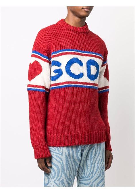 Red logo-tape detail jumper - men  GCDS | CC94M02116003