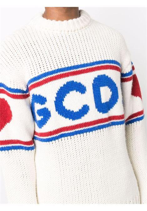 Off-white logo-tape detail jumper - men  GCDS | CC94M02116066