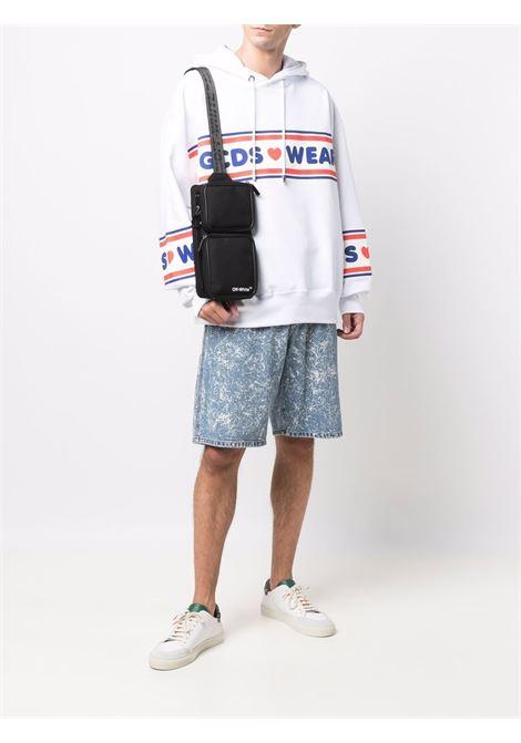 White logo-tape detail sweatshirt - men  GCDS | CC94M02150501