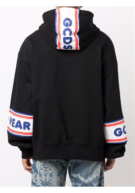 Black logo-tape detail sweatshirt - men  GCDS | CC94M02150502