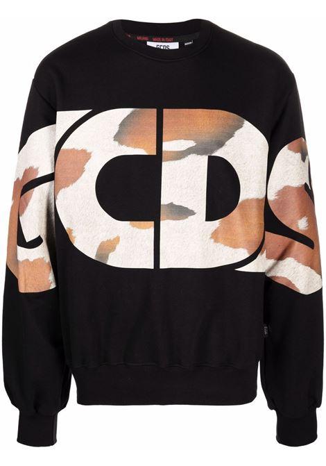 Felpa con stampa camouflage in nero - uomo GCDS | CC94M02152702
