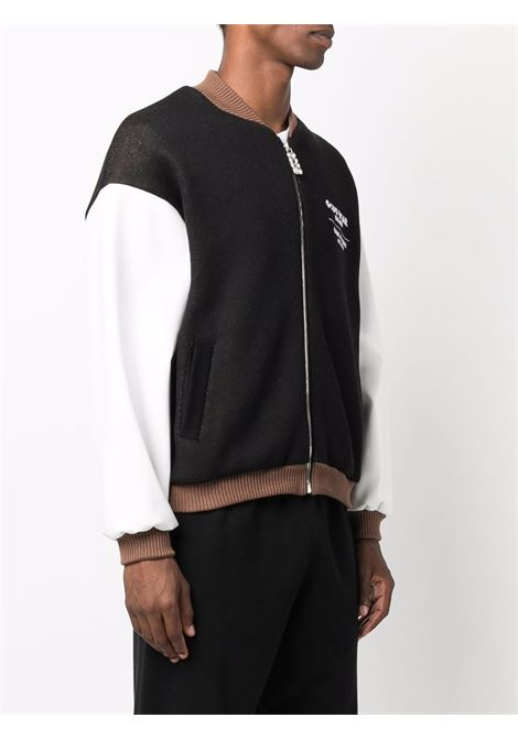 Black embroidered-logo bomber jacket - men  GCDS | CC94M04160002