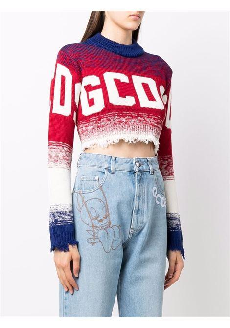 Maglione crop con logo in rosso e bianco - donna GCDS | CC94W02040308