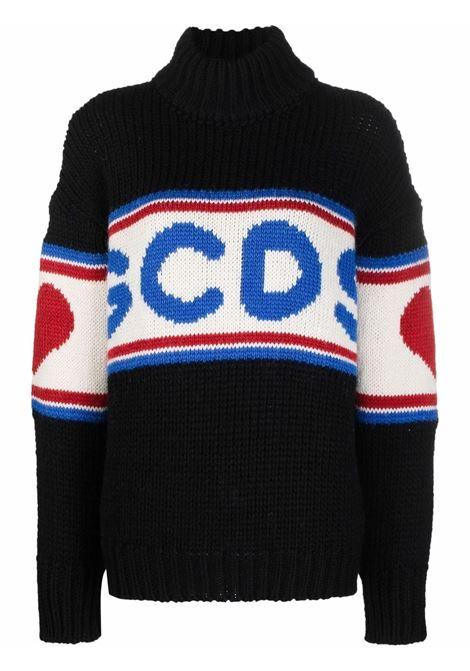 Maglione a collo alto con logo in nero e multicolore - donna GCDS | CC94W02041402
