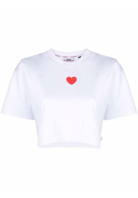 T-shirt corta con stampa a cuori in bianco - donna GCDS | CC94W02070401