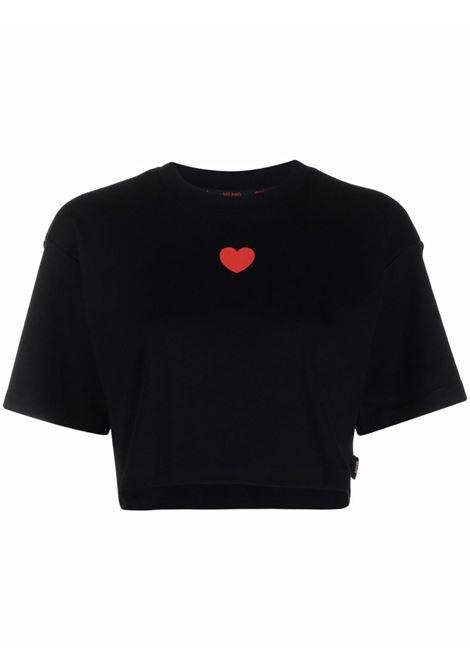 T-shirt corta con stampa a cuori in nero - donna GCDS | CC94W02070402