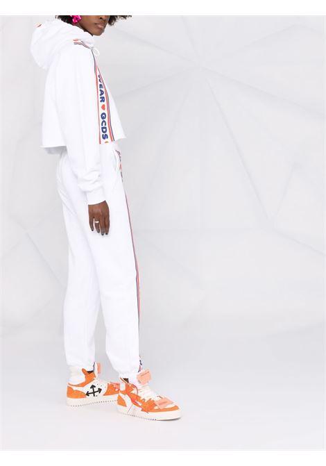 White logo-tape detail cropped sweatshirt - women  GCDS | CC94W02070501