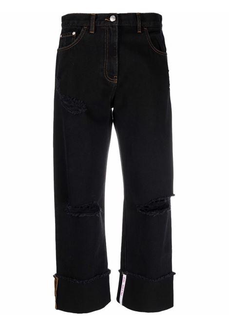 Jeans a vita alta crop in nero - donna GCDS | CC94W03145002
